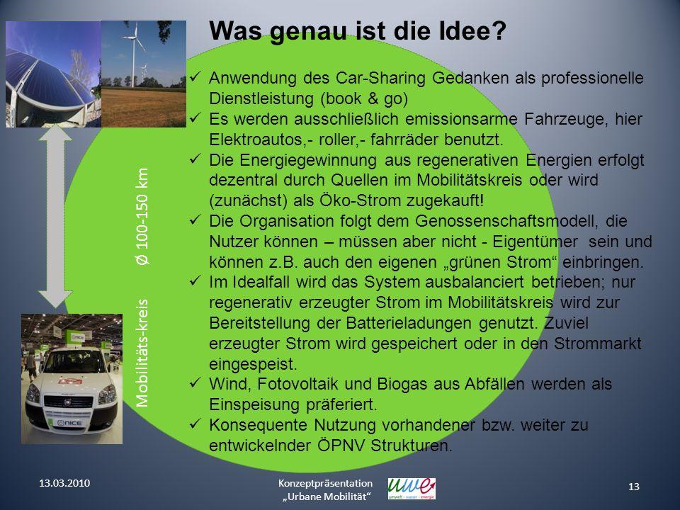 Mobilitäts-kreis Ø 100-150 km 13 Konzeptpräsentation Urbane Mobilität Was genau ist die Idee? Anwendung des Car-Sharing Gedanken als professionelle Di