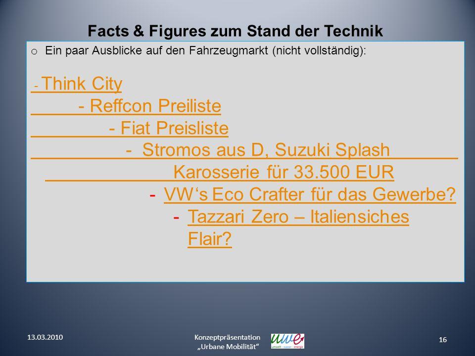 16 Konzeptpräsentation Urbane Mobilität Facts & Figures zum Stand der Technik o Ein paar Ausblicke auf den Fahrzeugmarkt (nicht vollständig): - Think