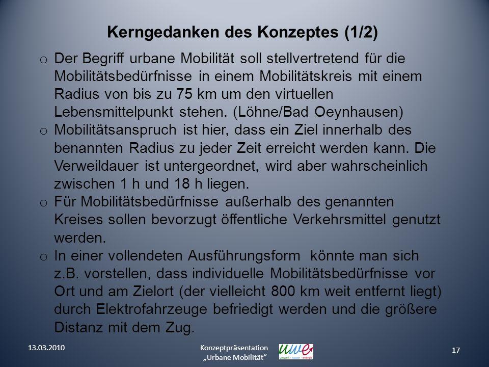 17 Konzeptpräsentation Urbane Mobilität Kerngedanken des Konzeptes (1/2) o Der Begriff urbane Mobilität soll stellvertretend für die Mobilitätsbedürfn