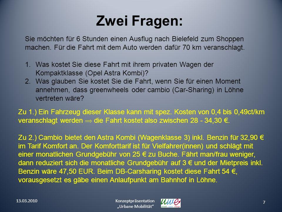 7 Konzeptpräsentation Urbane Mobilität Zwei Fragen: Sie möchten für 6 Stunden einen Ausflug nach Bielefeld zum Shoppen machen. Für die Fahrt mit dem A