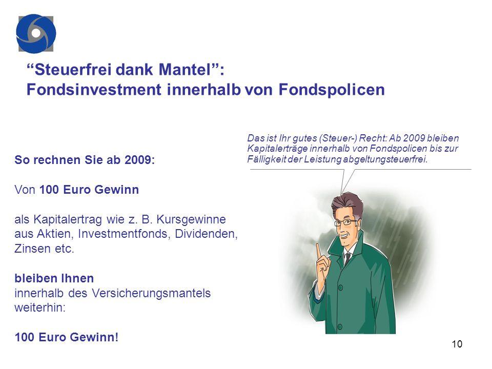 10 Steuerfrei dank Mantel: Fondsinvestment innerhalb von Fondspolicen So rechnen Sie ab 2009: Von 100 Euro Gewinn als Kapitalertrag wie z. B. Kursgewi