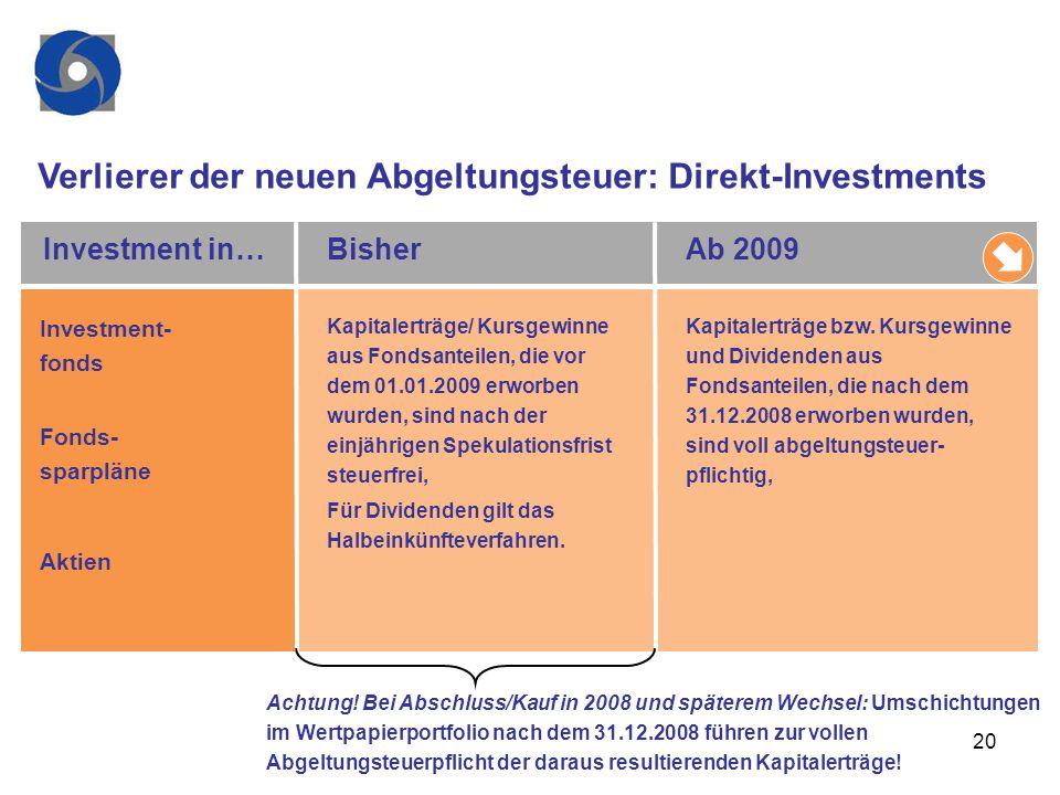 20 Verlierer der neuen Abgeltungsteuer: Direkt-Investments Investment- fonds Fonds- sparpläne Aktien Kapitalerträge/ Kursgewinne aus Fondsanteilen, di