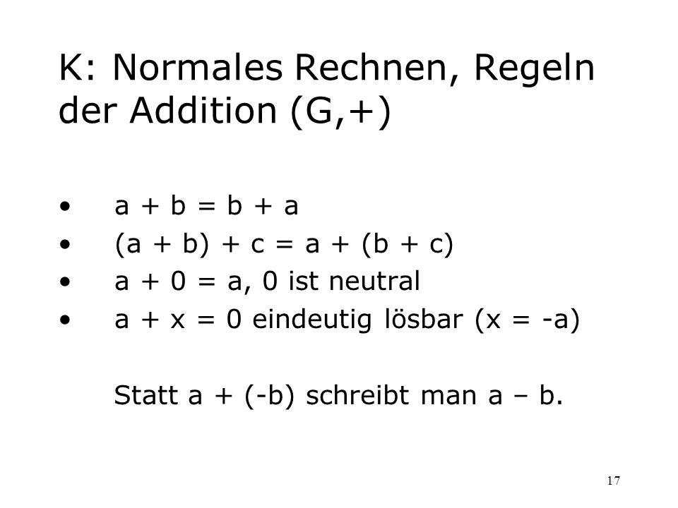17 K: Normales Rechnen, Regeln der Addition (G,+) a + b = b + a (a + b) + c = a + (b + c) a + 0 = a, 0 ist neutral a + x = 0 eindeutig lösbar (x = -a)
