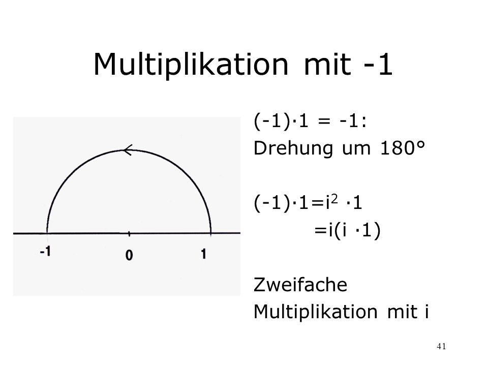 41 Multiplikation mit -1 (-1)·1 = -1: Drehung um 180° (-1)·1=i 2 ·1 =i(i ·1) Zweifache Multiplikation mit i
