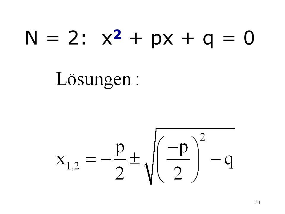 51 N = 2: x 2 + px + q = 0