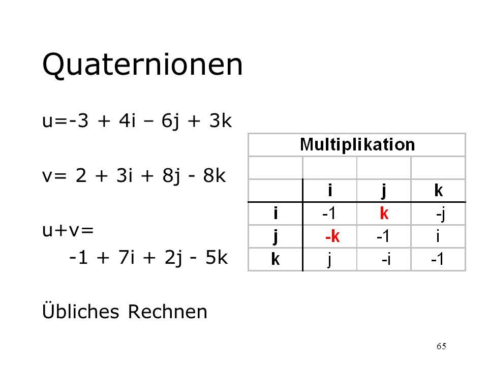 65 Quaternionen u=-3 + 4i – 6j + 3k v= 2 + 3i + 8j - 8k u+v= -1 + 7i + 2j - 5k Übliches Rechnen
