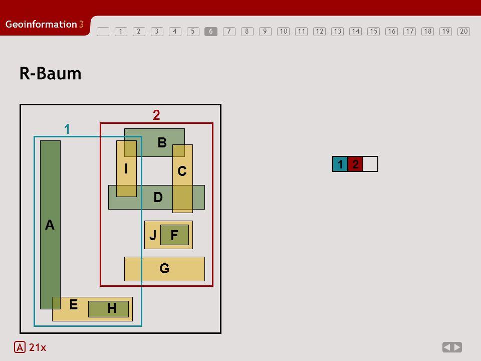 12345678910121314151617181920 Geoinformation3 11 A 21x R-Baum A 12 B DG J F C I 1 2 E H A 6