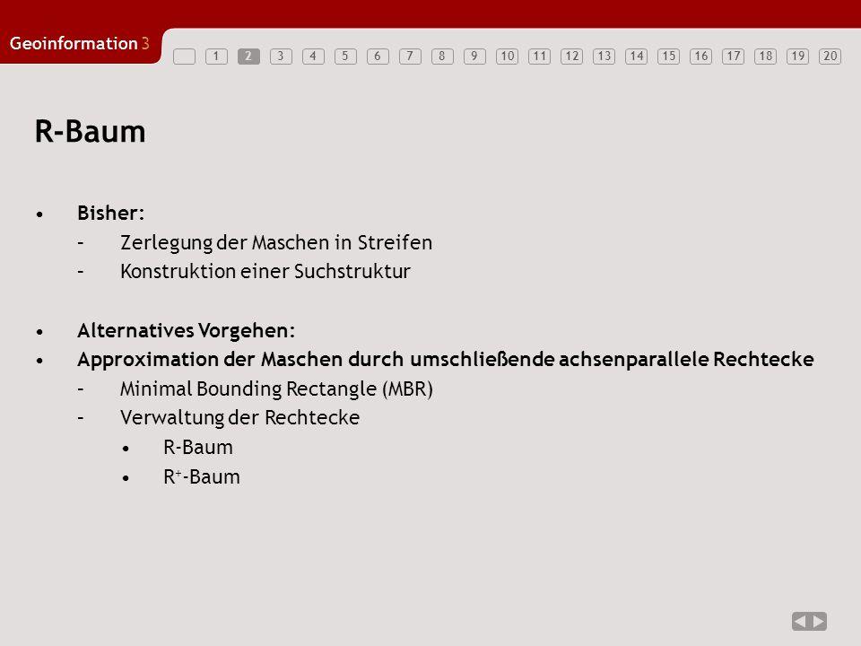 12345678910121314151617181920 Geoinformation3 11 R-Baum Bisher: –Zerlegung der Maschen in Streifen –Konstruktion einer Suchstruktur Alternatives Vorge