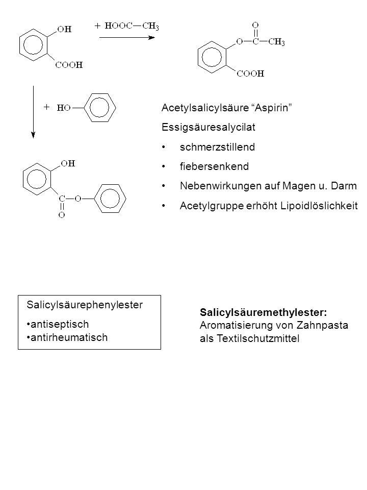 Acetylsalicylsäure Aspirin Essigsäuresalycilat schmerzstillend fiebersenkend Nebenwirkungen auf Magen u. Darm Acetylgruppe erhöht Lipoidlöslichkeit Sa