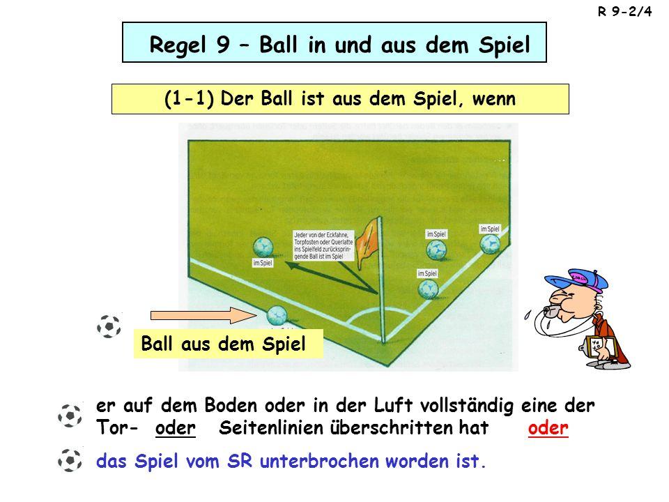 Regel 9 – Ball in und aus dem Spiel (1-1) Der Ball ist aus dem Spiel, wenn er auf dem Boden oder in der Luft vollständig eine der Tor- oder Seitenlini