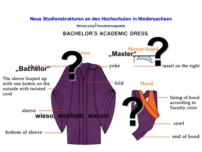 Neue Studienstrukturen an den Hochschulen in Niedersachsen Michael Jung I Koordinierungsstelle Bachelor ? Master ? wieso, weshalb, warum ?