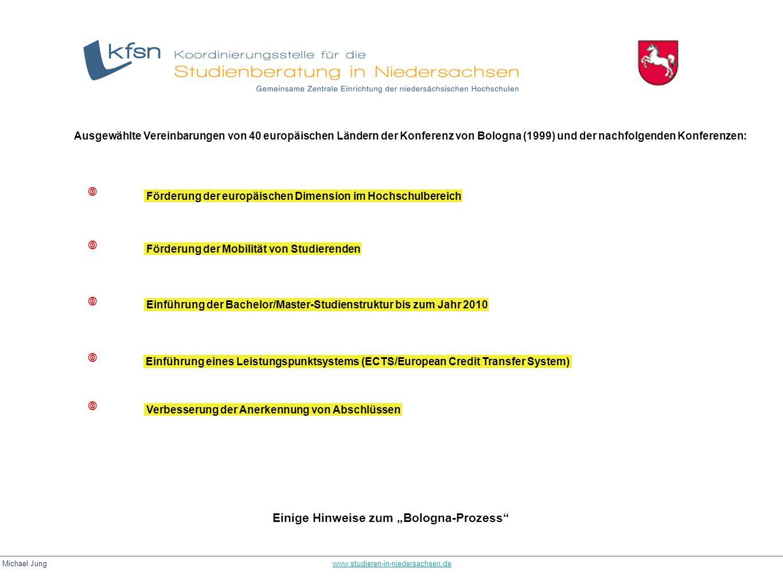 Michael Jung www.studieren-in-niedersachsen.dewww.studieren-in-niedersachsen.de Einige Hinweise zum Bologna-Prozess Ausgewählte Vereinbarungen von 40