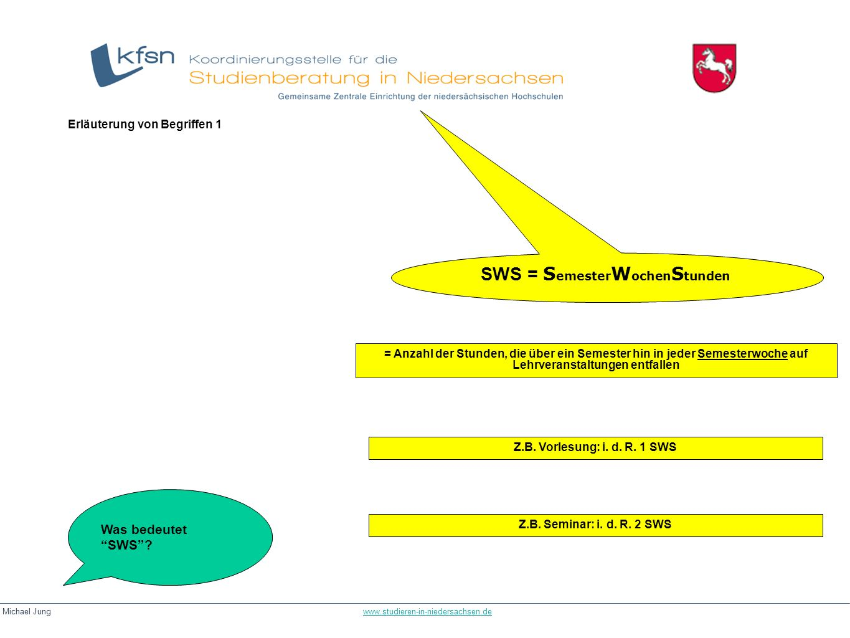 Michael Jung www.studieren-in-niedersachsen.dewww.studieren-in-niedersachsen.de SWS = S emester W ochen S tunden = Anzahl der Stunden, die über ein Se