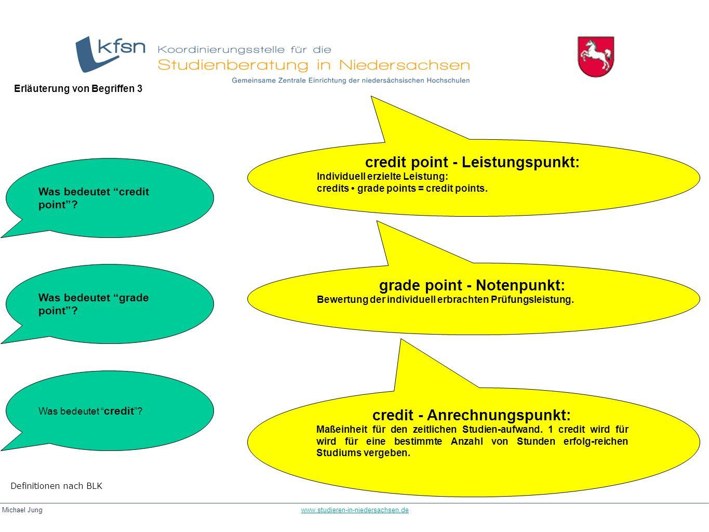 Michael Jung www.studieren-in-niedersachsen.dewww.studieren-in-niedersachsen.de credit - Anrechnungspunkt: Maßeinheit für den zeitlichen Studien-aufwa