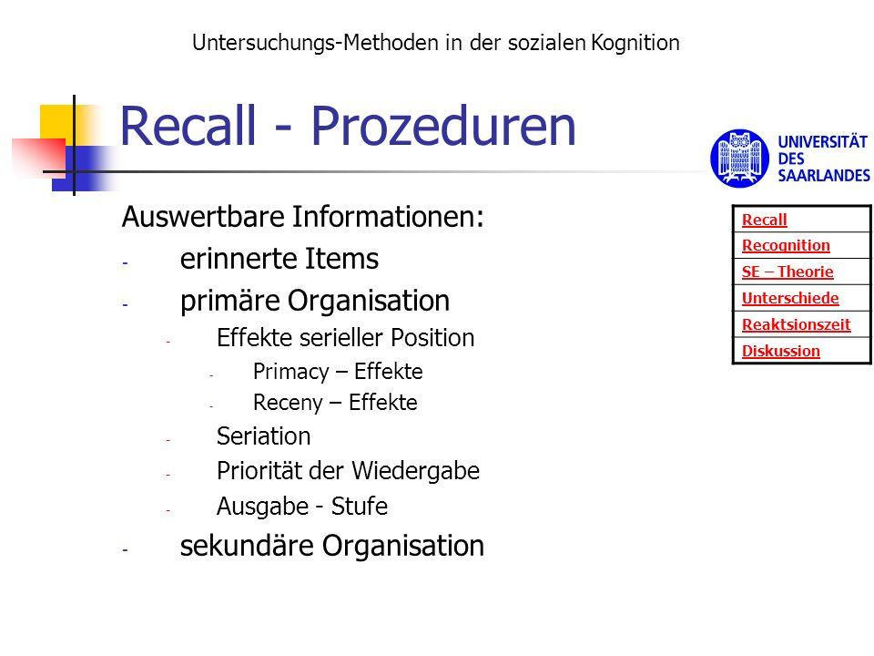 Recall - Prozeduren Auswertbare Informationen: - erinnerte Items - primäre Organisation - Effekte serieller Position - Primacy – Effekte - Receny – Ef