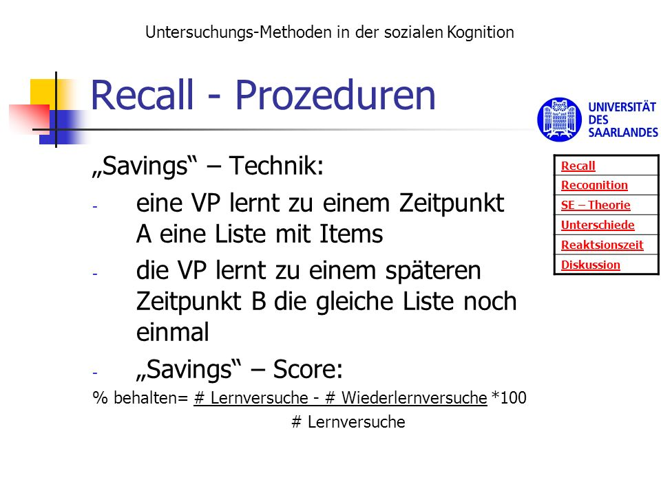 Recall - Prozeduren Savings – Technik: - eine VP lernt zu einem Zeitpunkt A eine Liste mit Items - die VP lernt zu einem späteren Zeitpunkt B die glei