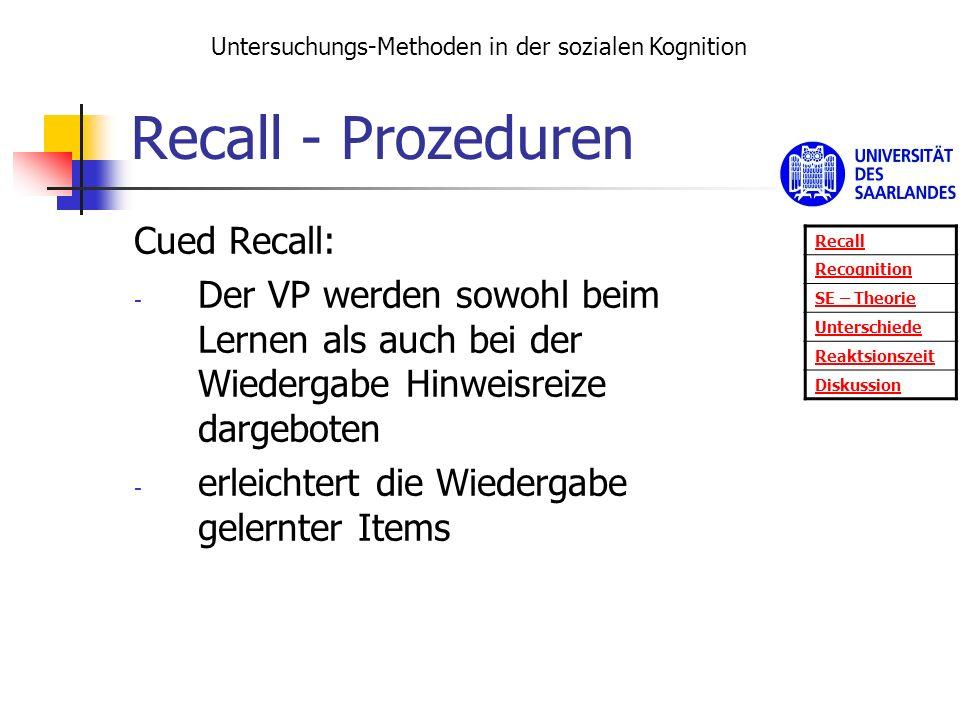 Recall - Prozeduren Cued Recall: - Der VP werden sowohl beim Lernen als auch bei der Wiedergabe Hinweisreize dargeboten - erleichtert die Wiedergabe g