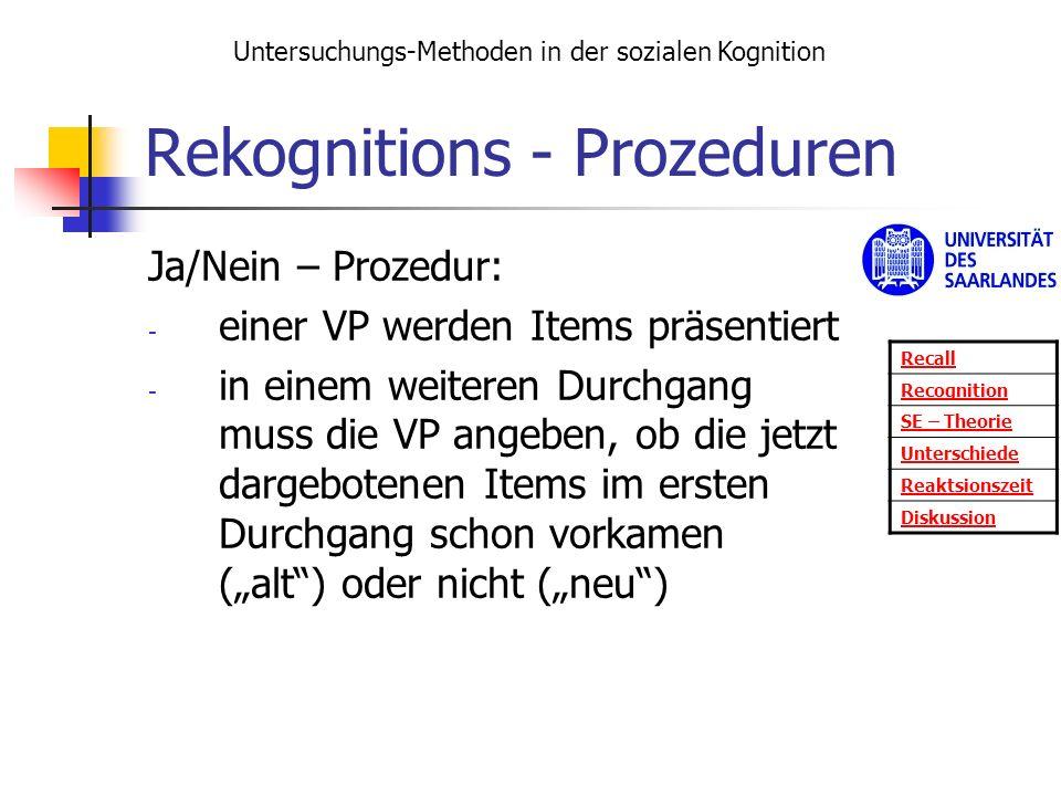 Rekognitions - Prozeduren Ja/Nein – Prozedur: - einer VP werden Items präsentiert - in einem weiteren Durchgang muss die VP angeben, ob die jetzt darg