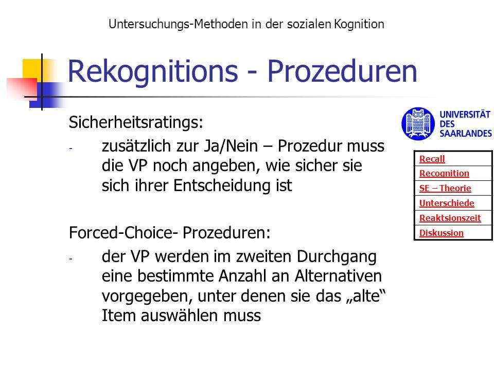 Rekognitions - Prozeduren Sicherheitsratings: - zusätzlich zur Ja/Nein – Prozedur muss die VP noch angeben, wie sicher sie sich ihrer Entscheidung ist