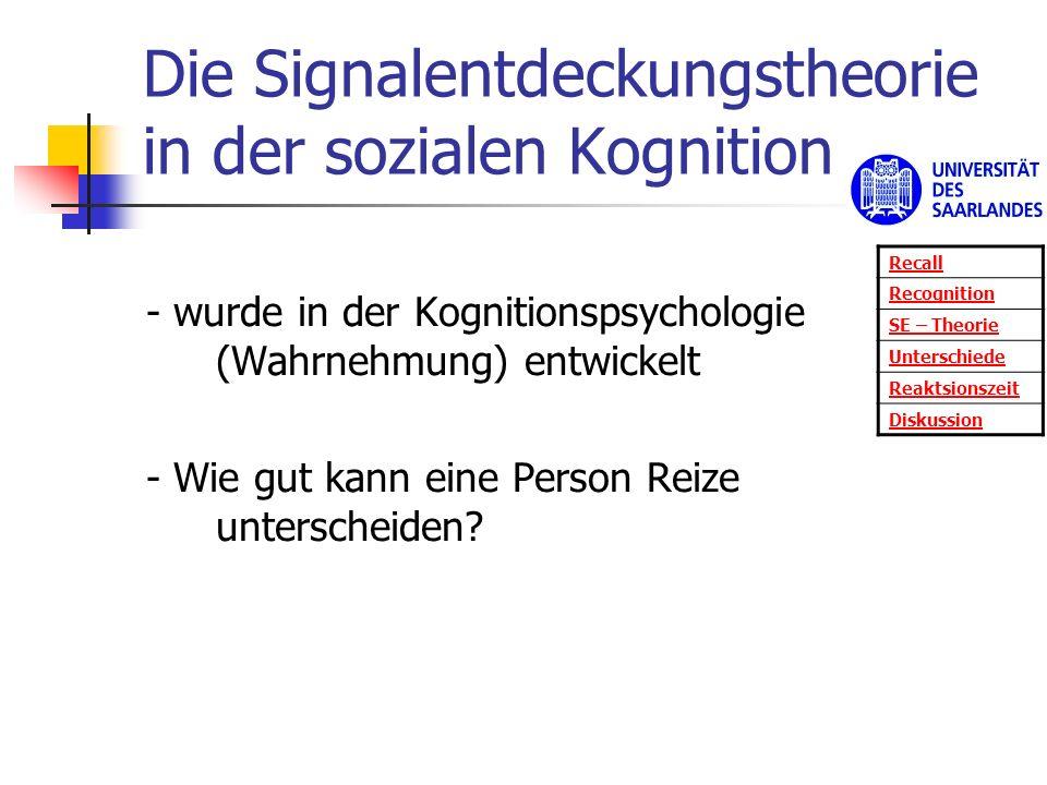 Die Signalentdeckungstheorie in der sozialen Kognition - wurde in der Kognitionspsychologie (Wahrnehmung) entwickelt - Wie gut kann eine Person Reize