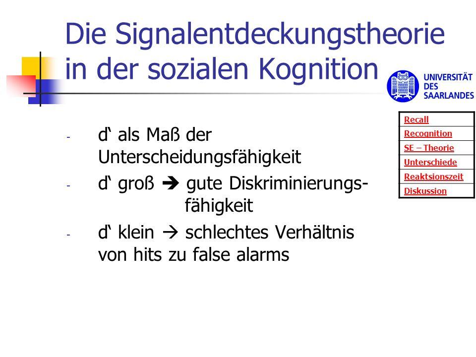 Die Signalentdeckungstheorie in der sozialen Kognition - d als Maß der Unterscheidungsfähigkeit - d groß gute Diskriminierungs- fähigkeit - d klein sc