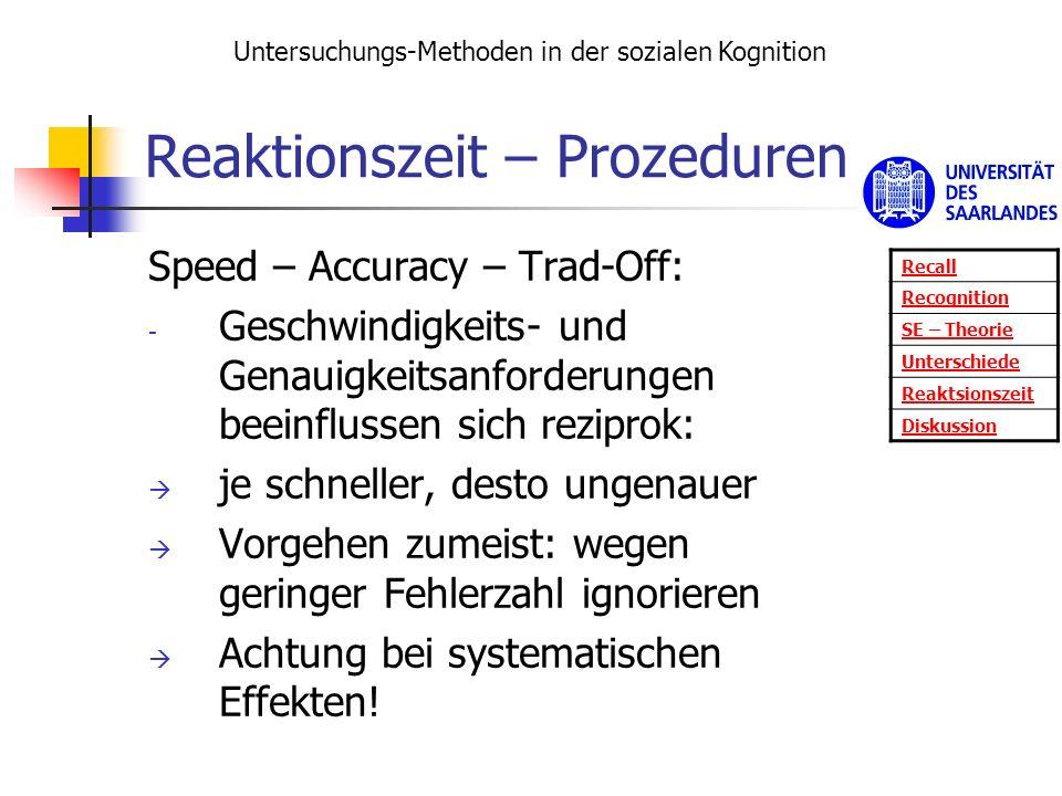 Reaktionszeit – Prozeduren Speed – Accuracy – Trad-Off: - Geschwindigkeits- und Genauigkeitsanforderungen beeinflussen sich reziprok: je schneller, de