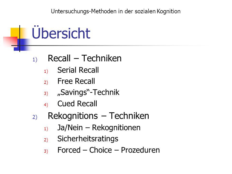 Übersicht 1) Recall – Techniken 1) Serial Recall 2) Free Recall 3) Savings-Technik 4) Cued Recall 2) Rekognitions – Techniken 1) Ja/Nein – Rekognition