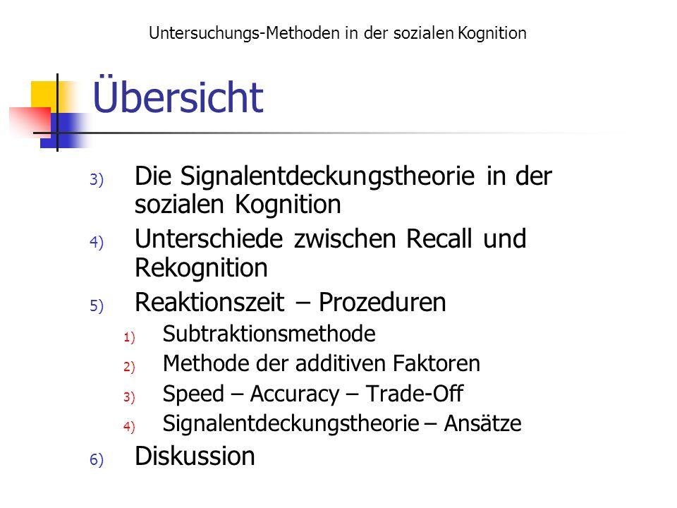 Übersicht 3) Die Signalentdeckungstheorie in der sozialen Kognition 4) Unterschiede zwischen Recall und Rekognition 5) Reaktionszeit – Prozeduren 1) S