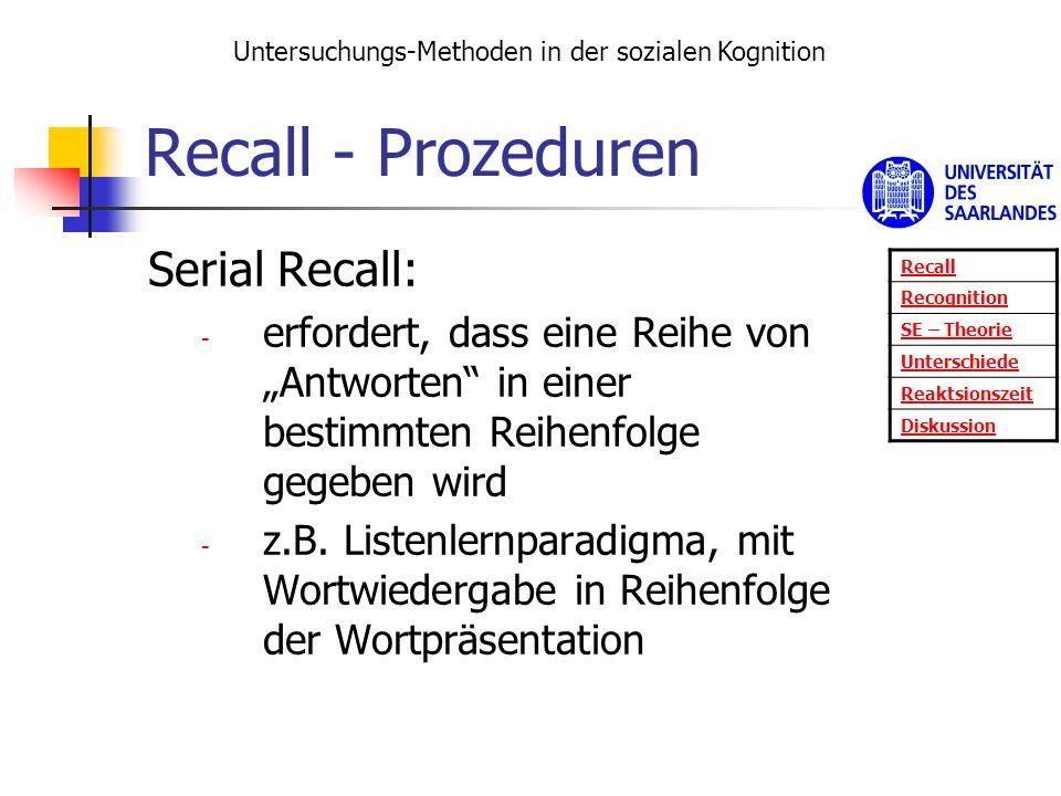 Recall - Prozeduren Serial Recall: - erfordert, dass eine Reihe von Antworten in einer bestimmten Reihenfolge gegeben wird - z.B. Listenlernparadigma,