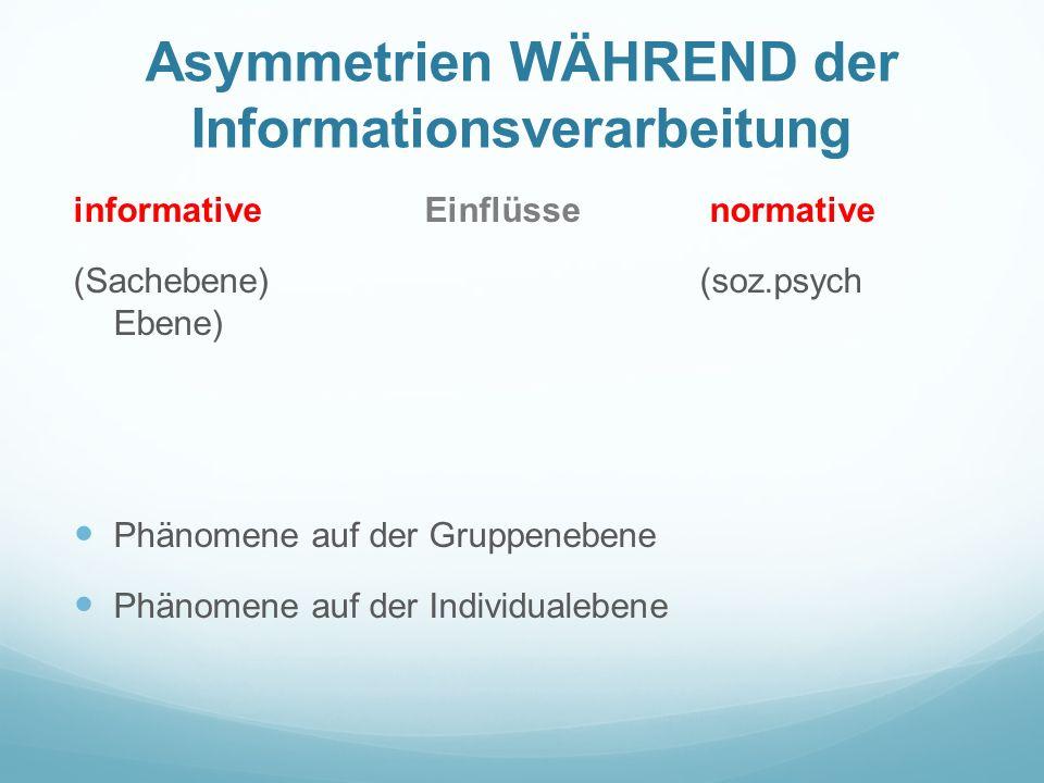 Asymmetrien WÄHREND der Informationsverarbeitung informative Einflüsse normative (Sachebene) (soz.psych Ebene) Phänomene auf der Gruppenebene Phänomene auf der Individualebene