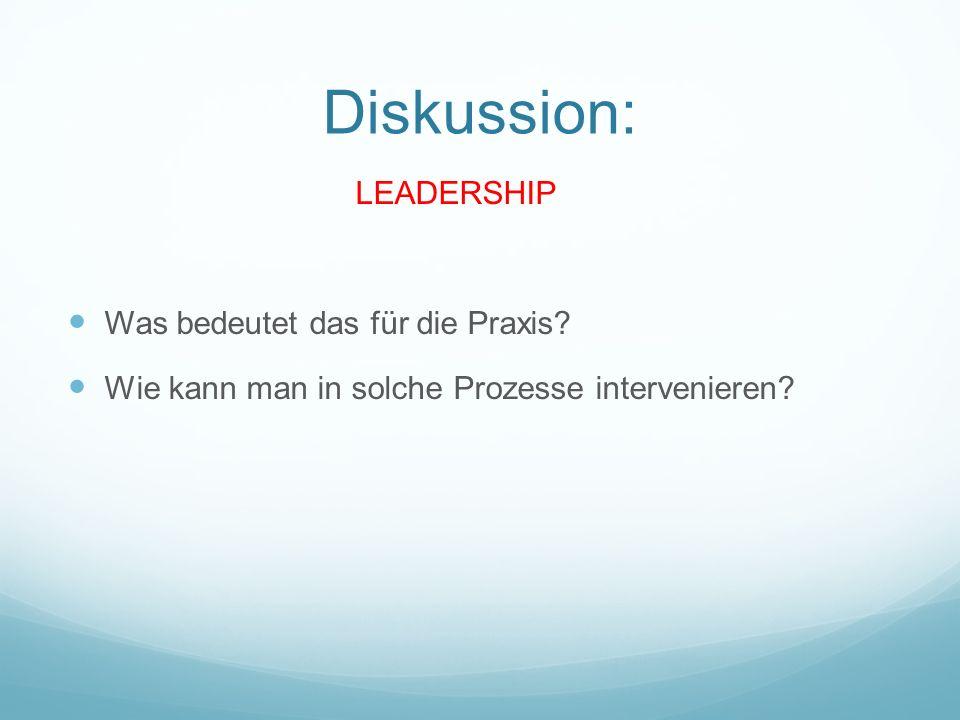 Diskussion: LEADERSHIP Was bedeutet das für die Praxis.