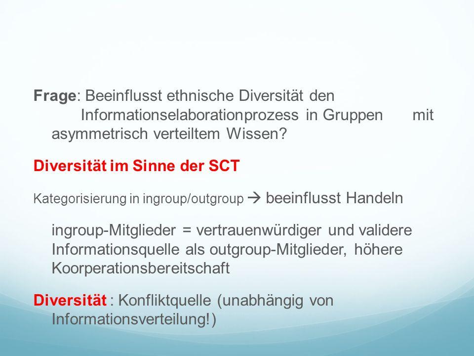 Frage: Beeinflusst ethnische Diversität den Informationselaborationprozess in Gruppen mit asymmetrisch verteiltem Wissen.
