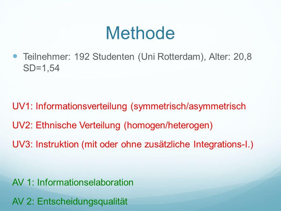 Methode Teilnehmer: 192 Studenten (Uni Rotterdam), Alter: 20,8 SD=1,54 UV1: Informationsverteilung (symmetrisch/asymmetrisch UV2: Ethnische Verteilung (homogen/heterogen) UV3: Instruktion (mit oder ohne zusätzliche Integrations-I.) AV 1: Informationselaboration AV 2: Entscheidungsqualität