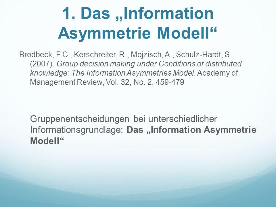 1. Das Information Asymmetrie Modell Brodbeck, F.C., Kerschreiter, R., Mojzisch, A., Schulz-Hardt, S. (2007). Group decision making under Conditions o