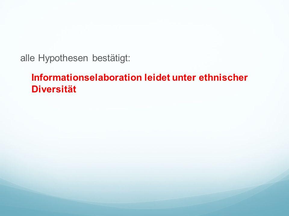 alle Hypothesen bestätigt: Informationselaboration leidet unter ethnischer Diversität