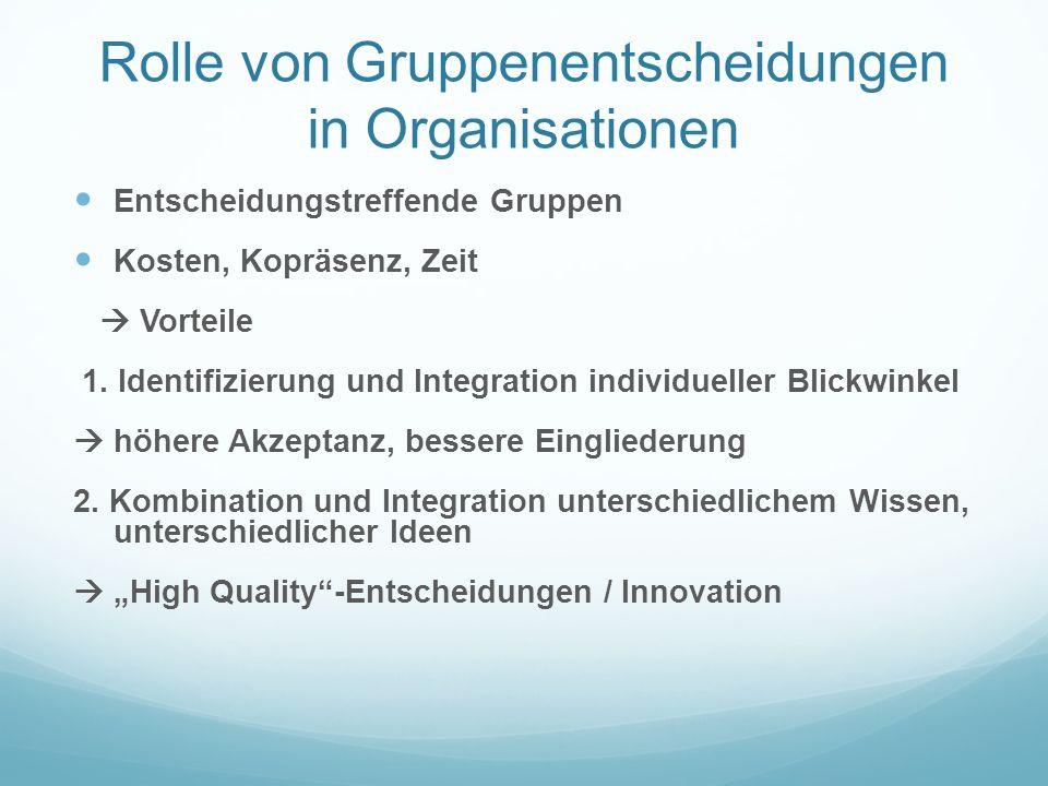 Rolle von Gruppenentscheidungen in Organisationen Entscheidungstreffende Gruppen Kosten, Kopräsenz, Zeit Vorteile 1.