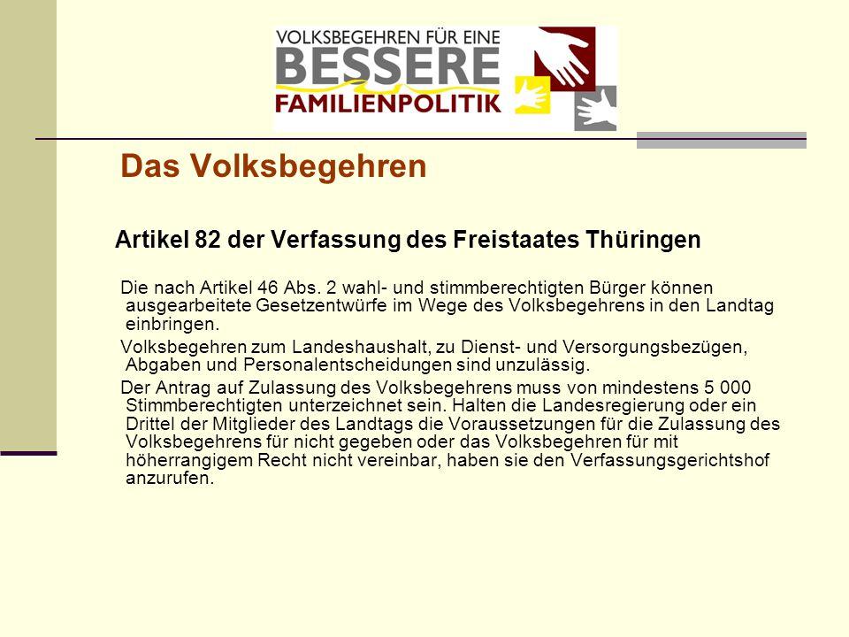 Das Volksbegehren Artikel 82 der Verfassung des Freistaates Thüringen Die nach Artikel 46 Abs. 2 wahl- und stimmberechtigten Bürger können ausgearbeit