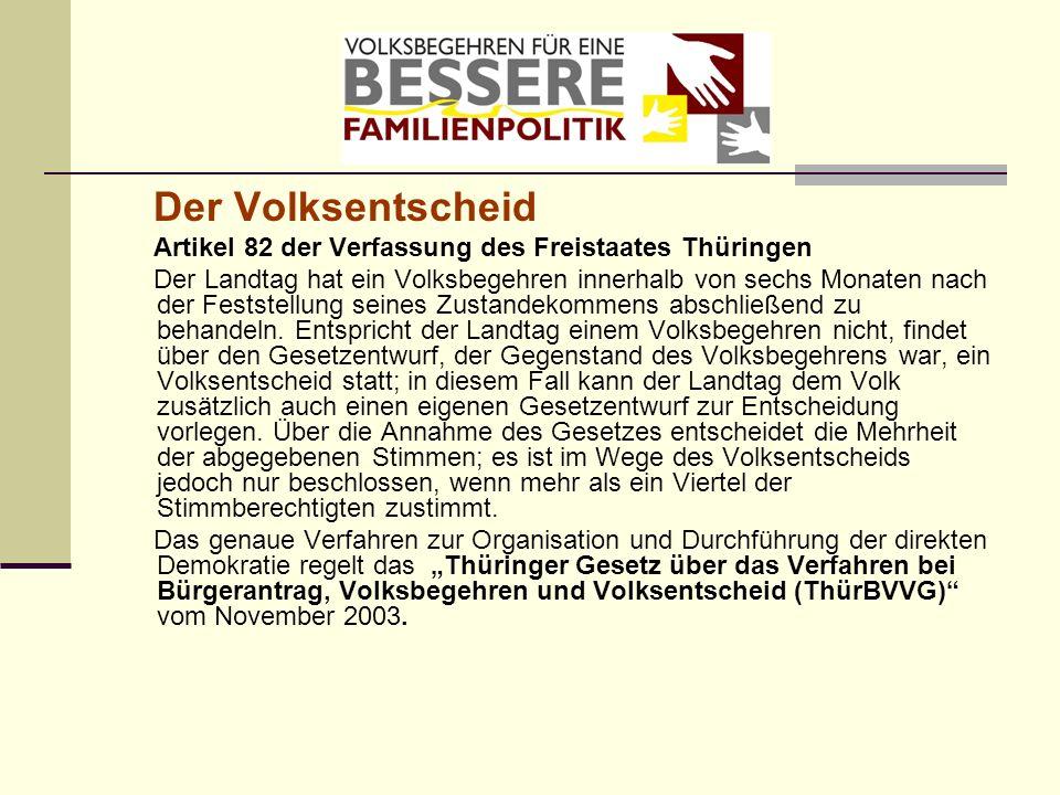 Der Volksentscheid Artikel 82 der Verfassung des Freistaates Thüringen Der Landtag hat ein Volksbegehren innerhalb von sechs Monaten nach der Feststel