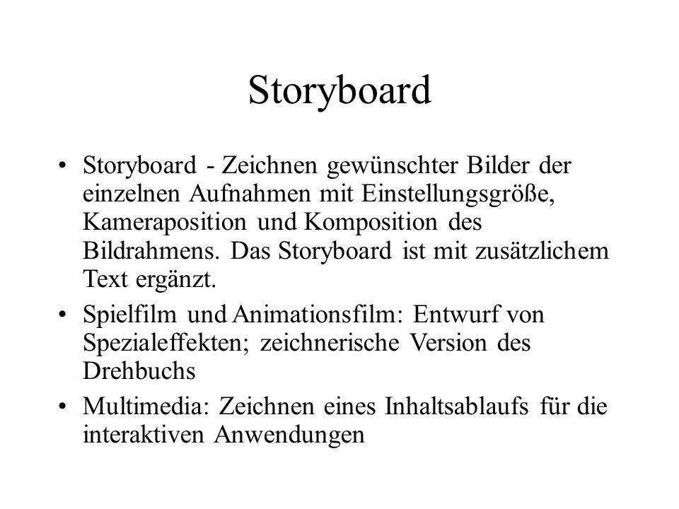 Storyboard Storyboard - Zeichnen gewünschter Bilder der einzelnen Aufnahmen mit Einstellungsgröße, Kameraposition und Komposition des Bildrahmens. Das