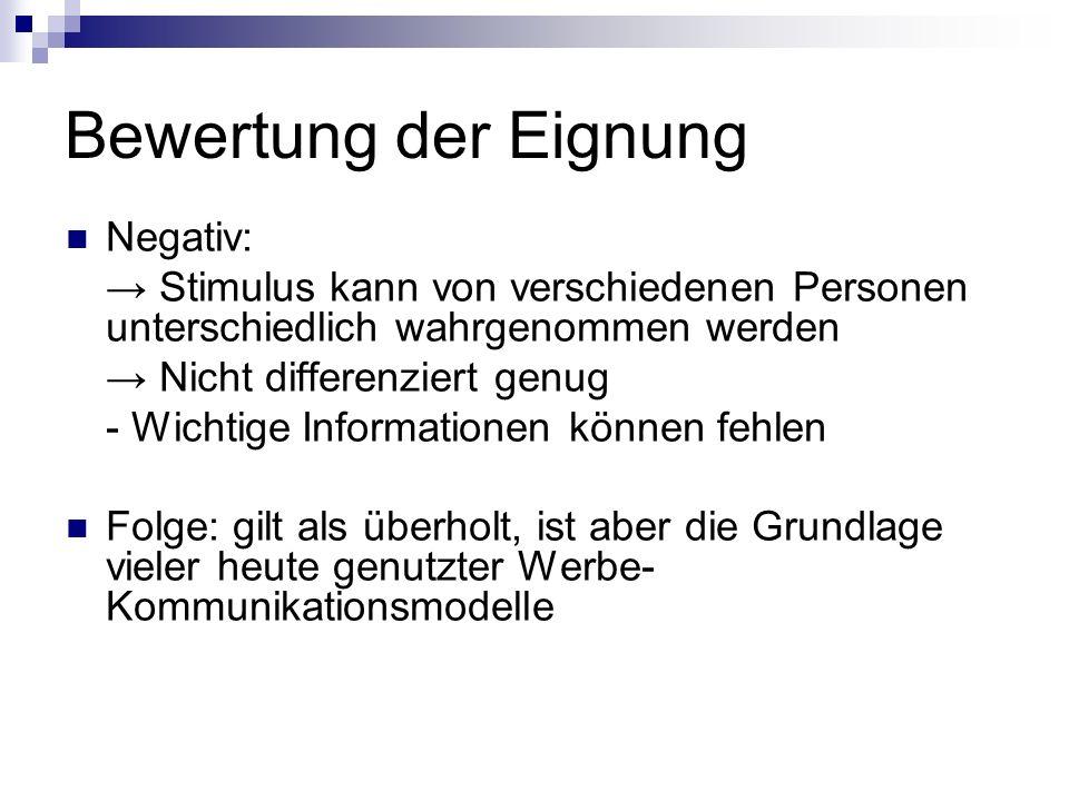 Bewertung der Eignung Negativ: Stimulus kann von verschiedenen Personen unterschiedlich wahrgenommen werden Nicht differenziert genug - Wichtige Infor