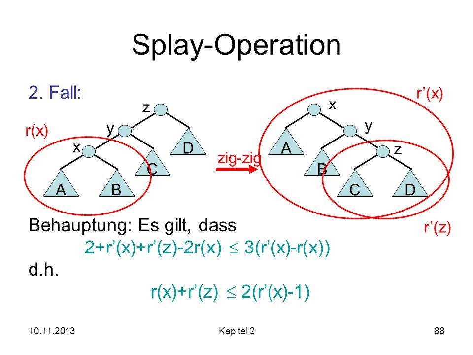 10.11.2013Kapitel 288 Splay-Operation 2. Fall: Behauptung: Es gilt, dass 2+r(x)+r(z)-2r(x) 3(r(x)-r(x)) d.h. r(x)+r(z) 2(r(x)-1) AB C x y y B CD z zig