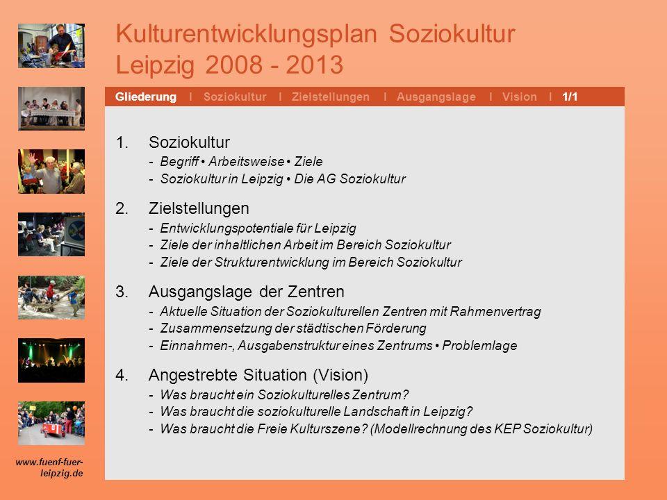 Kulturentwicklungsplan Soziokultur Leipzig 2008 - 2013 1. Soziokultur - Begriff Arbeitsweise Ziele - Soziokultur in Leipzig Die AG Soziokultur 2. Ziel