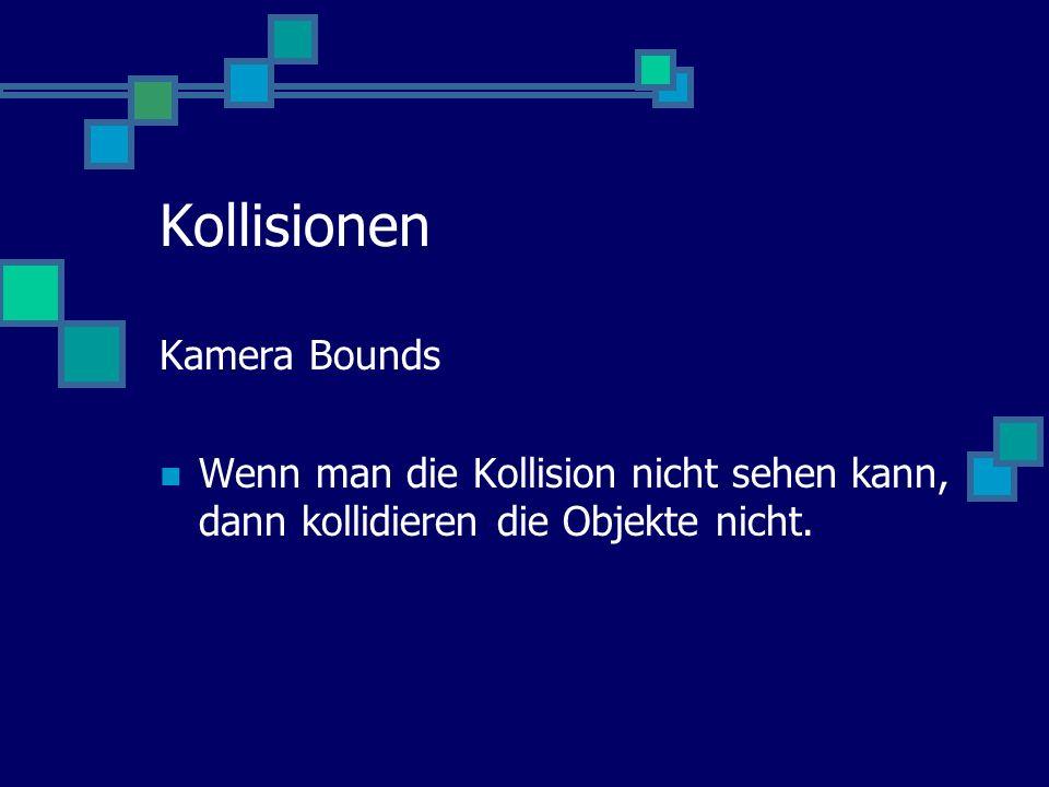 Kollisionen Kamera Bounds Wenn man die Kollision nicht sehen kann, dann kollidieren die Objekte nicht.