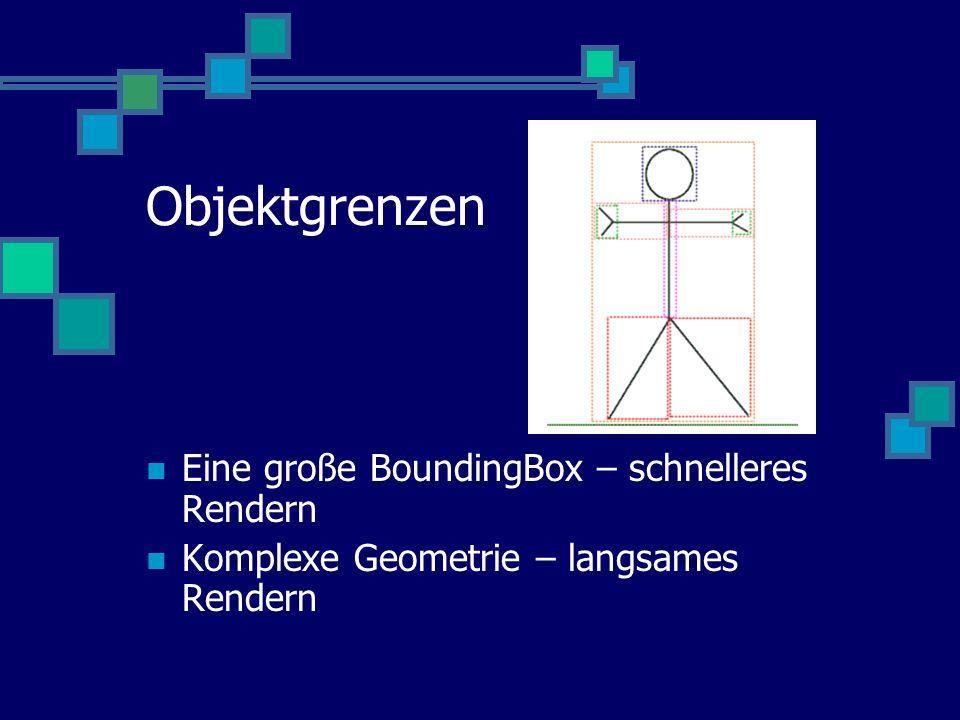 Objektgrenzen Eine große BoundingBox – schnelleres Rendern Komplexe Geometrie – langsames Rendern