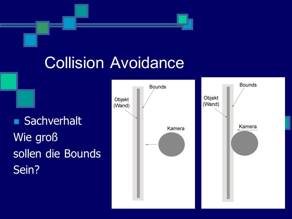 Collision Avoidance Sachverhalt Wie groß sollen die Bounds Sein