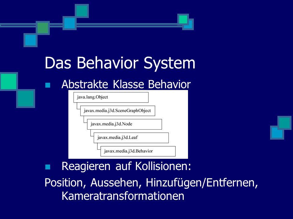 Das Behavior System Abstrakte Klasse Behavior Reagieren auf Kollisionen: Position, Aussehen, Hinzufügen/Entfernen, Kameratransformationen