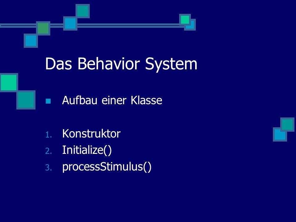 Das Behavior System Aufbau einer Klasse 1. Konstruktor 2. Initialize() 3. processStimulus()