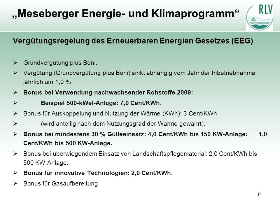 11 Meseberger Energie- und Klimaprogramm Vergütungsregelung des Erneuerbaren Energien Gesetzes (EEG) Grundvergütung plus Boni. Vergütung (Grundvergütu
