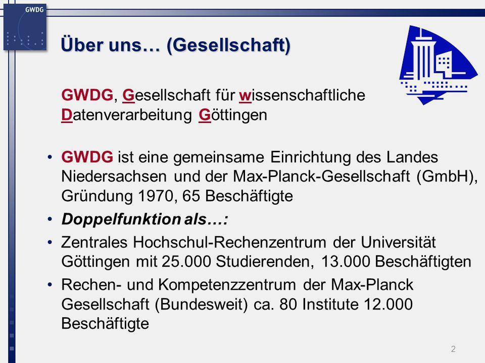 2 Über uns… (Gesellschaft) GWDG, Gesellschaft für wissenschaftliche Datenverarbeitung Göttingen GWDG ist eine gemeinsame Einrichtung des Landes Nieder