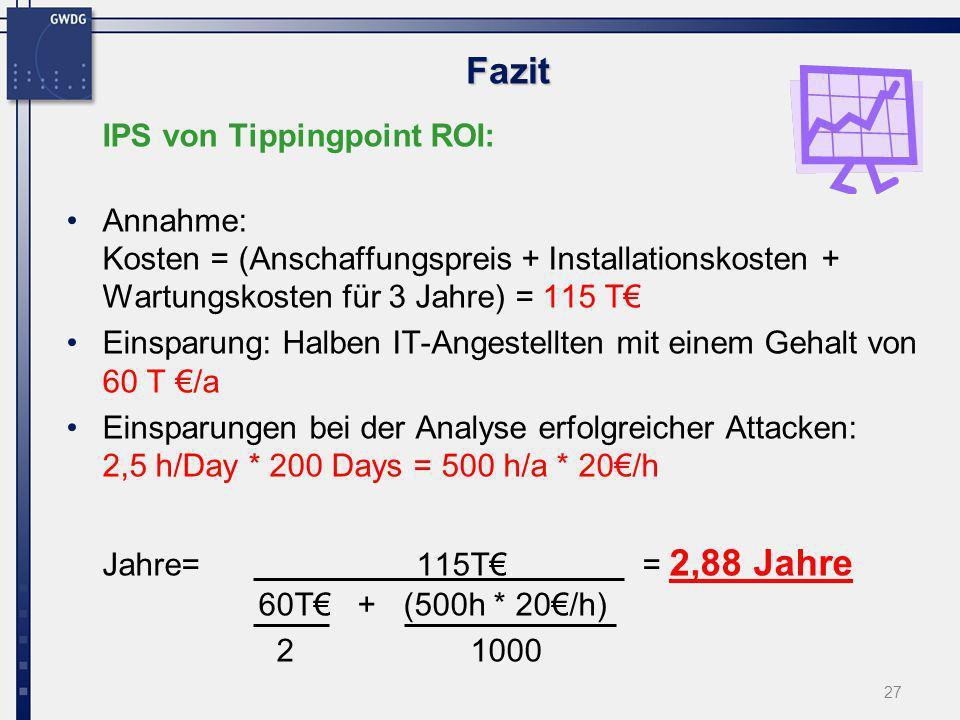 27 Fazit IPS von Tippingpoint ROI: Annahme: Kosten = (Anschaffungspreis + Installationskosten + Wartungskosten für 3 Jahre) = 115 T Einsparung: Halben
